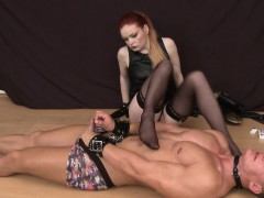 Smoking femdom toys guys ass using strapon