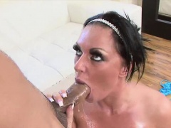 Kerry Louise is a very horny brunette, who presses her big h