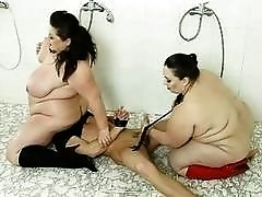 Submissive dweeb gets fucked by two fat sluts BDSM movie