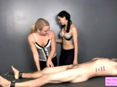 Preparation a fresh marionette for emasculation FEMALE DOM HAND JOB LATEX