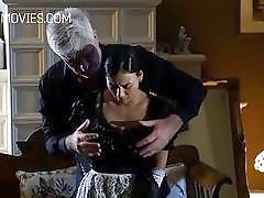 Mature lad strips girl and whips her from the back