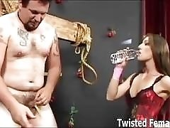 Nasty slave whipped and cock destroyed with mouse trap BDSM