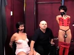 Breasty lovely chick enjoys servitude