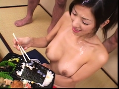 Slutty Asian lady gets gangbanged and covered in hot semen