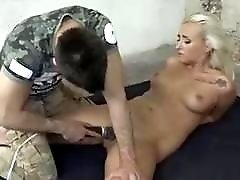 Tied up bimbo struggling while being fucked BDSM bondage porn