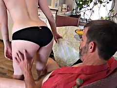 Tattooed whore gives a lap dance and balls-deep blowjob swallowing