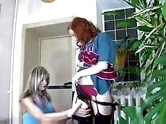 Redhead Russian housewife fucks her crossdressser husband with a strap-on