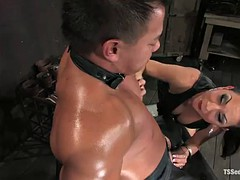 dominating brunette ladyboy gave a muscled dude a nice ass banging