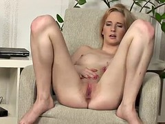 kinky blonde pushes her fingers deep in her pussy