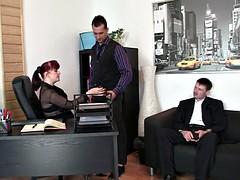 Two dudes fucks hot mom office
