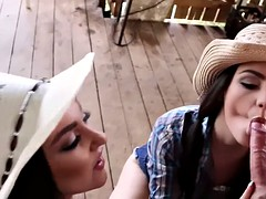 Seductive girls farm a hard fleshy rides cock