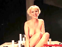 Lesbo Domination blondie slave fake penis plumbed by domino