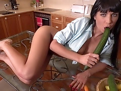 Carrot & Cucumber: Busty Babe Fucks Veggies in VR Porn