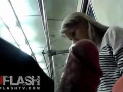 Flashing Cum for Blonde Amateur Teen in Public on Train