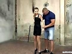Skinny sub slut Sarah Key tied up and molested BDSM