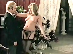 Naked Lady In Black Stockings Seduces Suited Older Man