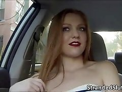 Sexy blonde Farrah takes a free ride on a hot strangers cab