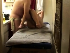 Mature wife with sexy legs has a masseur fingering her peach