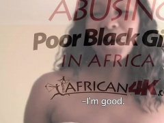 Amateur Busty African Slut Blows Long White Dong