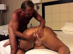 Chunky amateur granny braces herself for an intense pounding