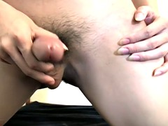asian tranny jerk wiggles out of jean shorts and cum
