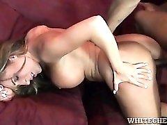 Slut blows big black cock and bends over