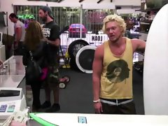 Blonde amateur surfer going gay for pay at pawn shop