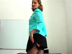 Sultry amateur milf in stockings sensually touches herself