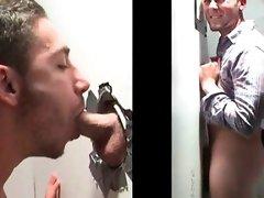 Horny straight guy takes gay gloryhole BJ