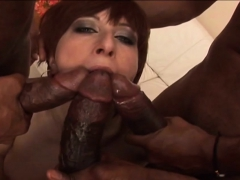Viki in fishnet stockings gets gangbanged