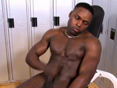 Black gay jerking his bbc in amateur solo