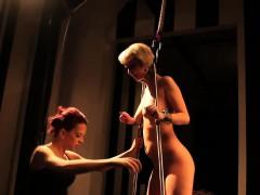 Lesbian domina spanks sub