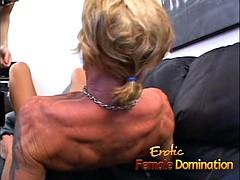 Horny slave made his mature blonde mistress a very happy