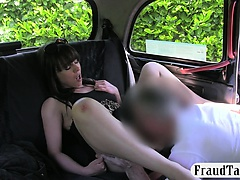 Natural tits babe pussy licked and nailed by perv driver