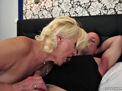 Blonde granny gets her pussy wrecked by a young stud