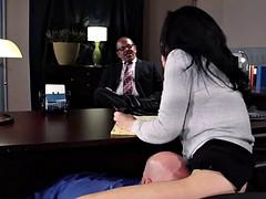 Boss fucks his hot secretary on the office table