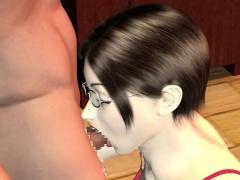 3D anime slut suck two black cocks