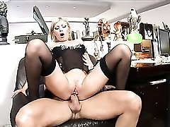 His nasty anal secretary is hot in stockings