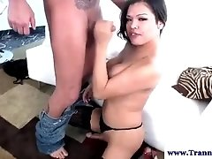 Oriental amateur shemale tranny sucking
