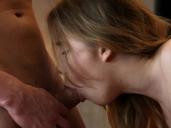 Elegant beauty is delighting hunk with wet fellatio