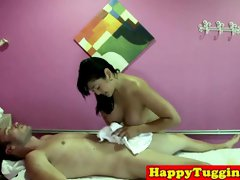 Oriental babe seduces her massage client