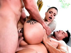 DP 3-Way: Split-Tongued Leigh Squirts!
