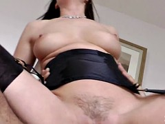 Hot mature in stockings rides cock boy