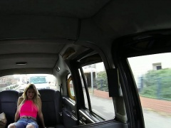 Hardcore sex action with a horny european in a cab