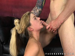 Hair pulling and a cock rammed in mouth