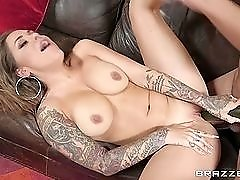 Cucumber and a cock fuck Karmen Karma in her cunt