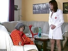 Chubby Grannma and her girlfriend BBW Nurse have big fun 2