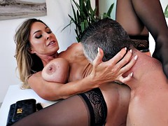 busty milf aubrey black gets pussy licked on the desk