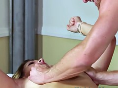 tattooed babe throatfucked by masseur