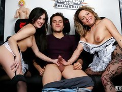 Awesome handjob and oral party with two babes Lullu Gun and Eva Adams